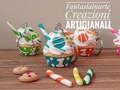 Bomboniera Portachiavi Cupcake colori misti
