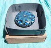 Svuotatasche blu in vera pelle e pietra mandala  Fiocco di neve