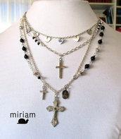 Collana con catenine, perle, immagini sacre