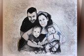 Ritratto di famiglia, dipinto di famiglia, ritratto a matita, ritratto di coppia, ritratto su commissione, dipinto in acrilico, regalo di anniversario, regalo di compleanno