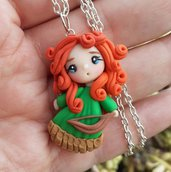 Merida the brave, collana con bambolina in fimo