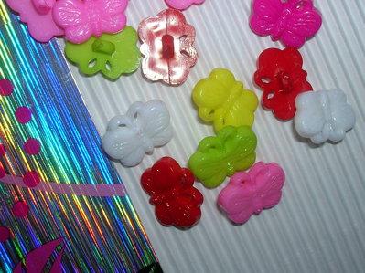 Set 5 bottoni FARFALLA mixcolor mm.18