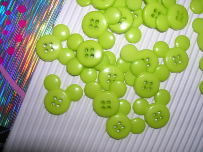 Set 5 bottoni TOPOLINO verde mela mm.22