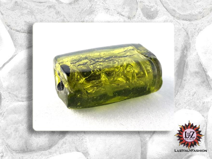 20 Perle Vetro Verde Acido - 25 x 16 x 5 mm - rettangolo