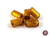 20 Perle Vetro Ambra Chiaro  - 25 x 16 x 5 mm - rettangolo