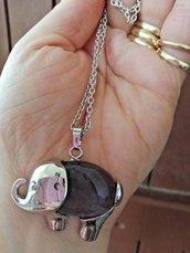 Collana donna con ciondolo elefante in vera ametista naturale chakra cristalloterapia