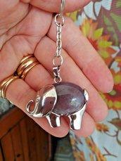 Portachiavi ciondolo elefante portafortuna con vera ametista naturale chakra cristalloterapia