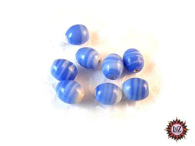 150 Perle in Vetro ovale effetto marmo 10 x 8 mm - Blu