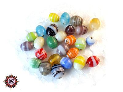150 Perle in Vetro ovale effetto marmo 10 x 8 mm - Mix