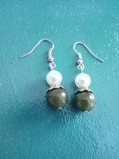 Orecchini agata verde e perle