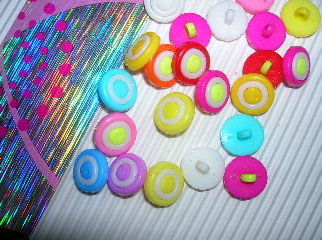 Set n.5 bottoni CERCHI BICOLORE mix color