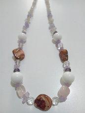 Collana ametista, madreperla,cristallo di Rocca,quarzo rosa e cristalli di vetro