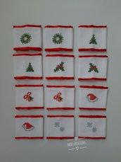 Lega tovaglioli natalizi, ricamo punto croce, 12 pezzi
