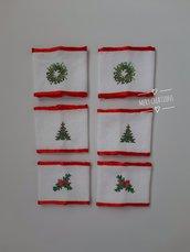 Lega tovaglioli natalizi, ricamo punto croce, 6 pezzi