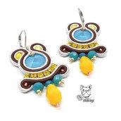 Orecchini pendenti blu, giallo, marrone e argento - orecchini soutache