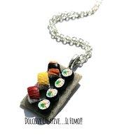 Collana Sushi! - Handmade in fimo e cernit - Futomaki, nigiri con salmone, omelette tonno - japan food