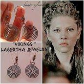 Orecchini LAGERTHA VIKINGS vichinghi spirale rame tribale regalo telefilm pendenti