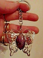 Portachiavi con ciondolo farfalla portafortuna in vera ametista pietra dura naturale chakra cristalloterapia