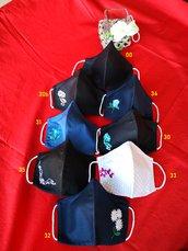 Pack 10+1 Mascherine CON FILTRO TNT regolabili per ADULTI, lavabili , face mask 10+1 OMAGGIO  ricamate in puro cotone, doppio strato, con filtro in TNT