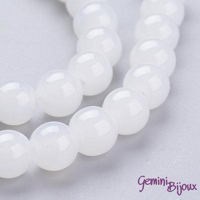 Lotto 20 perle tonde in vetro imitazione giada 8mm Bianco