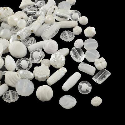 Lotto 50 grammi perle acrilico mix di forme, bianco