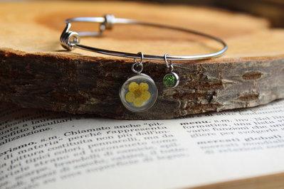 bracciale rigido fiore giallo