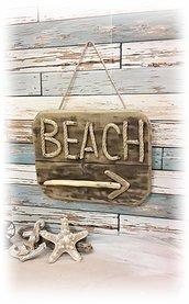 Quadro decorativo da parete con legni di mare e corda,regalo per amanti del mare e spiaggia
