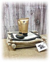 Porta sapone in ceramica raku e legni di mare, per il bagno,regalo compleanno,per la casa al mare