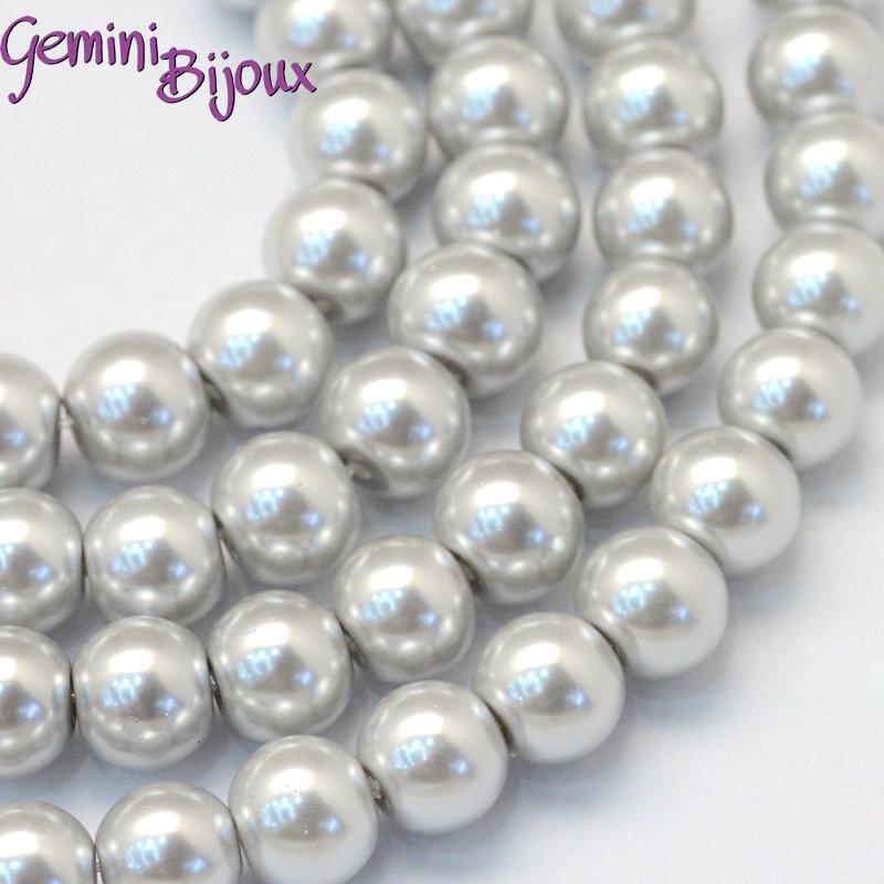 Lotto 20 perle tonde in vetro cerato 8mm Light Gray