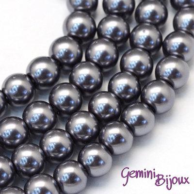 Lotto 20 perle tonde in vetro cerato 8mm Gray