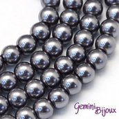 Lotto 20 perle tonde in vetro cerato 8mm Gray