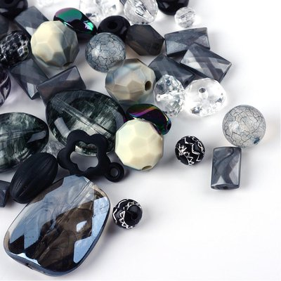 Lotto 50 grammi perle acrilico mix di forme, nero/grigio