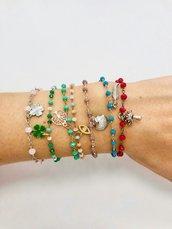 Bracciali rosario colorati in filo di rame e alluminio, con ciondolino pendente in argento fatti a mano