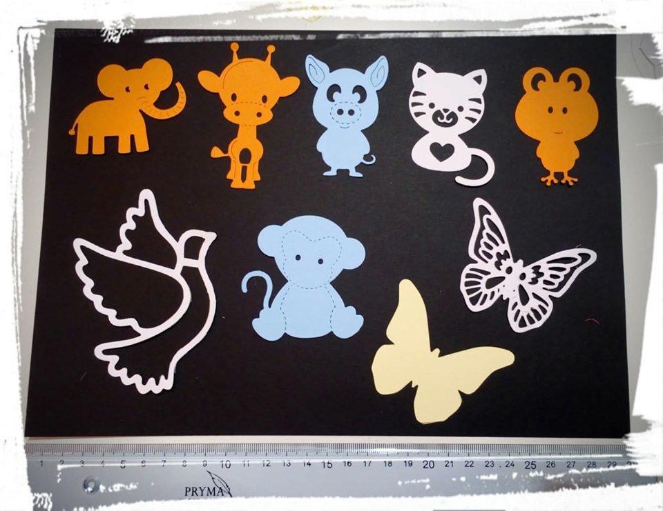 lotto fustellati tema animali cartoncino gomma crepla decorazioni segnaposto