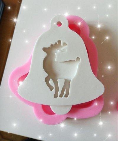 stampo silicone campana con renna per gessetti fimo resina natale decorazioni natalizie