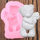 stampo silicone orsetto con fiori per gessetti fimo resina
