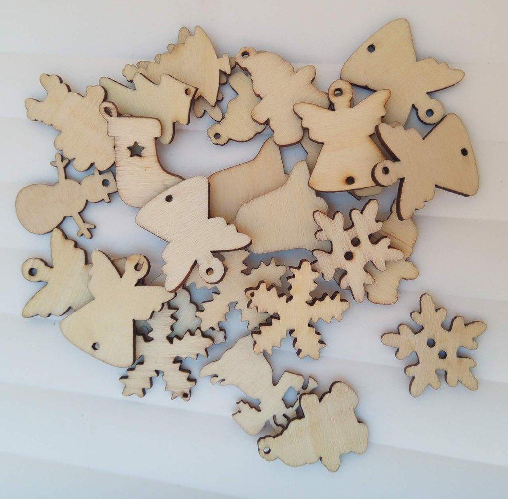 lotto 50 decorazioni natalizie legno angelo pupazzo fiocco di neve albero di natale