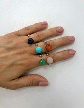 Anello piercing regolabile con pietra dura colorata a scelta fatto a mano