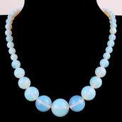 Collana donna in vera adularia pietra di luna naturale con perle graduate 6-14 mm chakra cristalloterapia