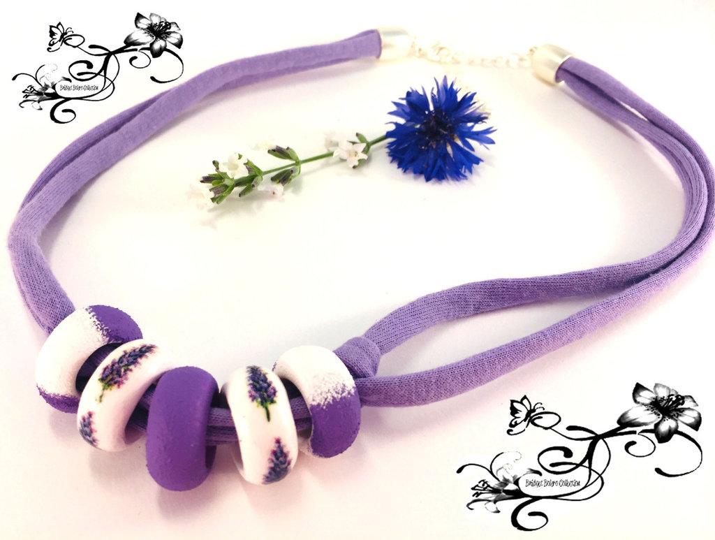 Collana di lavanda viola e bianca