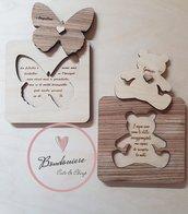 Bomboniere quadretto da appendere farfalla orsetto personalizzabile in legno