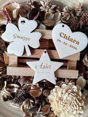 Bomboniere in legno personalizzabili applicazione cuore stella quadrifoglio per sacchettini o segnaposto