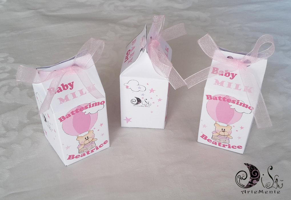 Portaconfetti milk box le baby milk baby girl orsetto in mongolfiera bimba