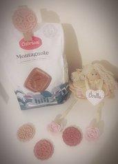 Bomboniera profumata segnaposto ceramica shabby chic fiori rosone molletta chiudi pacco personalizzata nozze