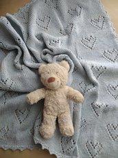 Copertina neonato cotone ai ferri azzurro regalo nascita coperta bebè corredino per carrozzina culla biancheria