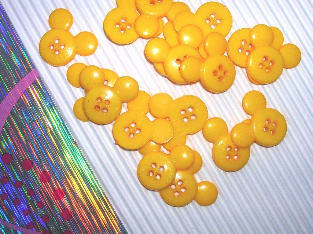 Set 5 bottoni TOPOLINO gialli, mm.22