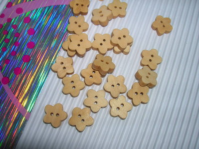 Set 5 bottoni FIORE LEGNO NATURALE mm.10