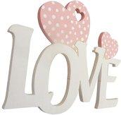 Love scritta in legno con cuori Fai da te cm L 24 x 18 h spessore 8 mm (bianco con cuore rosa)