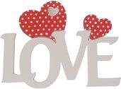 Love scritta in legno con cuori Fai da te cm L 24 x 18 h spessore 8 mm (bianco con cuore rosso)