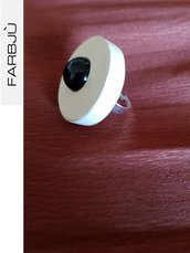 Anello regolabile bianco avorio con perla nera
